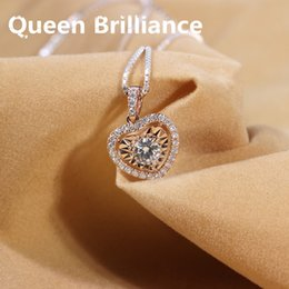 Wholesale Moissanite Yellow Gold - Genuine 14K 585 Yellow Gold 0.5 ctw GH Color Moissanite Diamond Pendant Necklace with Diamond Accent For Women Jewelry 17903