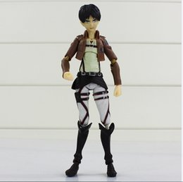 Wholesale Titan Action Figure - Attack on Titan Shingeki no Kyojin Rivaille Figma Boxed PVC Action Figure Collection Toy Best Gift for Kids 12cm High Quality King EMS