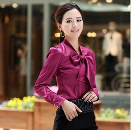 Wholesale puff sleeved blouse - Most popular 2018 new spring and autumn shirts long-sleeved Women's clothing ol Korean Slim bow chiffon blouse women shirt Shirt