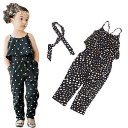 Wholesale girls heart shape outfit - 2016 Summer Girls Casual suspender thouser Sling Clothing Sets romper baby Lovely Heart-Shaped jumpsuit pants bodysuits romper outfits