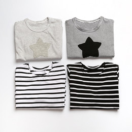 Wholesale Casual Shirt Girl Fashion - INS baby girls boys T-shirts black white striped cotton Tops Tees Autumn casual long sleeve 2017 children kids clothes