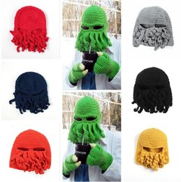 Wholesale Free Handmade Christmas Gifts - Winter Octopus Hats Novelty Handmade Knitting Wool Funny Beard Caps Crochet Knight Beanies For Men Women Christmas Gift DHL Free Shipping