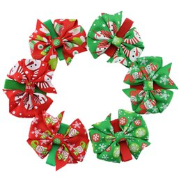 Wholesale Christmas Grosgrain Ribbons - Mix style Christmas Grosgrain Ribbon Bows WITH Clip Snow Pinwheel Hair Clips Hair Pin Accessories XZ55