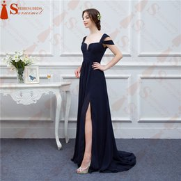 Wholesale Ocean Coral - Bariano Ocean Navy Blue Color Chiffon Long Events Prom Dresses V neck Sexy Side Slit Cap Sleeve Prom Dresses Evening Dress
