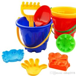 Wholesale Plastic Buckets - 2016 Funny Gift Set of 7 Winter Summer Seaside Beach Toy Child Spade Rake Bucket Kit Sand Snow Building Molds for kids