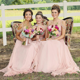 Wholesale Long Sparkly Chiffon Dresses - Fancy Pink Chiffon Long Bridesmaid Dresses Sparkly Beaded Straps Maid Of Honor Gowns Backless Wedding Guest Formal Party Dresses Cheap
