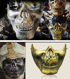 Wholesale Armor Mask - Half Face Gold Silver masquerade Airsoft mascara terror Skull mask Warrior armor carnival Paintball biker mask scary Halloween Horror Mask