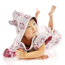 Wholesale Bath Robe Cloak - Wholesale- Infant Toddler Character Bath Towel Bath Robe Beach Towels Kid Baby Bath Towel Hooded Towel Baby Bathrobe Cloak Baby Blanket