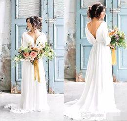 Vestido manga grega on-line-Sexy Com Decote Em V Sem Encosto Grego Vestidos de Casamento 2017 Robe de Mariage Boêmio Praia Vestido De Noiva Com Mangas País Vestido De Noiva