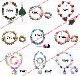 Wholesale Chunky Flower Necklaces - xmas ins baby chunky necklace set infant Bubblegum Necklace & Bracelets flower Headband 2pc set toddler jewelry kids necklace over 50styles