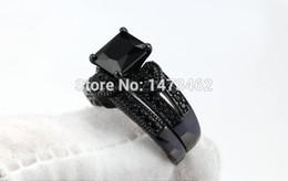 Wholesale Diamond Ring Solitaire Princess - Gift Victoria Wieck Princess cut black Topaz simulated diamond 10KT Black Gold Filled Bridal Engagement Wedding Ring set