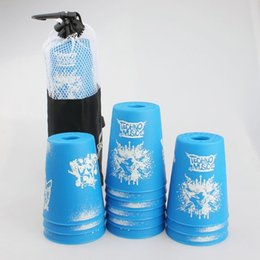 Wholesale Speed Cup Stacking Sets - Wholesale-2016 New hot sale Yongjun Sport Stacking Cup 12-CUP Set Kids Flying Cup speed folding cup Blue graffiti version