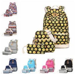 Wholesale Owl Cell Phone Bag - 10 Styles Owl Printed Backpack Emoji Backpack Unisex Animal School Bags Backpacks Teenage Outdoor Travel Bag 3pcs set CCA7086 10set