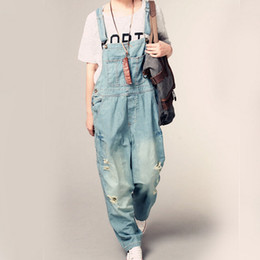 Wholesale Denim Pant Overalls - Wholesale- New Womens Jumpsuit Denim Overalls Spring Autumn Casual Ripped Hole Loose Pants Pockets Jeans Overalls Baggy Rompers G175