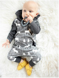 Wholesale Baby Boy Coverall Rompers - Mikrdoo Baby Boy Rompers Clothes Kids Hoody Bodysuit Toddler Coverall Infant Jumpsuit Children Deer Christmas Tree Clothing Set Costume Suit