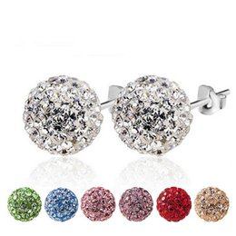Wholesale Diamond Nail Stud - Hot 925 Soild silver ear nails Women crystal earrings CZ diamond balls full of shampoos earrings