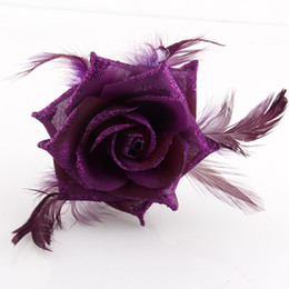 Wholesale Dancing Brooches Pin - Rose Feather Corsage brooch headpiece hairwear Hair Clips pin Fascinator belly dance costume cosplay Accessorries ta032