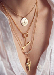 Wholesale Arrow Scale - The new design Arrow angel wings multilayer necklace gold plated pendant sheet hanging scales fashion women jewelry