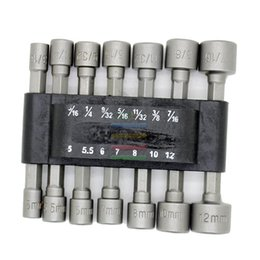 "Wholesale Socket Hand Tools - Free shipping New 14pcs Power Nut Driver Bit Set Dual Metric MM Standard SAE 1 4"" Hex Shank Socket Holder Adapter order<$18no track"