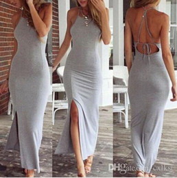 Wholesale Bodycon Halter - Sexy women summer bohemian long maxi dress evening party dress beach casual clothing Brand New Good Quality Free Shipping