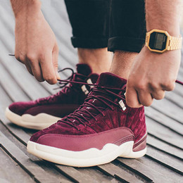 Wholesale Mens Basketball Shoe Brand - 2017 Air Retro 12 Bordeaux for Man Basketball Shoes Wine red high quality Brand retro 12s Mens sport Trainer Sneakers Eur 41-47