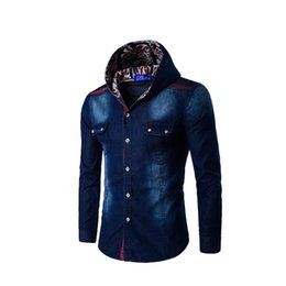 Wholesale Denim Shirt Mens - Wholesale- Fashion Hooded Denim Shirts Slim Mens Jeans Shirts Blouse Button Jean Casual Men New SzM-3XL Plus Fit Jacket Jeans Shirt Hoody