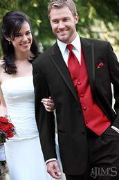 Wholesale Men Dress Suits Cheap - Wholesale-custom made cheap best sell style black men's suit red vest  wedding groom wear Tuxedos groomsmen,bridegroom dress