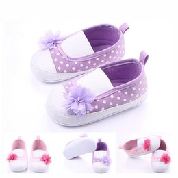 Wholesale Color Dot Flower - New Arrival High Quality Dot and Flower Slip-on Baby Girl Shoes Baby Dress Shoes Soft Sole Retail Wholesale
