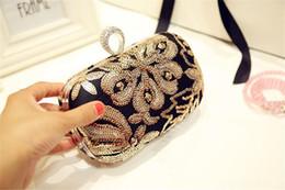 Wholesale Designe Handbags - Designe New Fashion Wedding Bridal Crystal Rhinestone Black Evening Clutch Bag Handbag Purse Wallet Metal Hard Box Shoulder Chain Bag Makeup