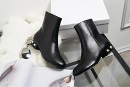 Wholesale mixed flat pearls - high quality~u679 40 black genuine leather pearl flat short boots c luxury designer runway fashion brand beige black