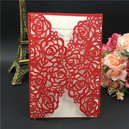 Wholesale Embossed Red Wedding Invitation - 2016 Printable Laser Cut Red Wedding Invitation Thanksgiving Card with Embossed Flower with Envelope & Seal Free Shipping