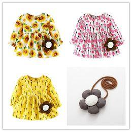 Wholesale Baby Christmas Top - Mikrdoo Sweet Girl Dress Children Sunflower Dresses Bag 2pcs Girls Long Sleeve Floral Princess Vestido Kids Baby Party Pregnant Tulle Tops