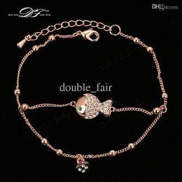Wholesale Sets Jewelry Fish Gold White - Fish Cubic Zirconia Diamond Rock 18K Gold Plated Chain Bracelets & Bangles Fashion Jewelry Trinket For Women Imitation Crystal DFH009