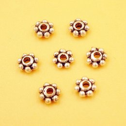 Wholesale 4mm Metal Beads - 500Pcs Silver Tibetan Plated Daisy Metal Round Flat Beads Spacer Bead 4mm Abalorios Bisuteria Accesorios Para Hacer Joyas AGB85