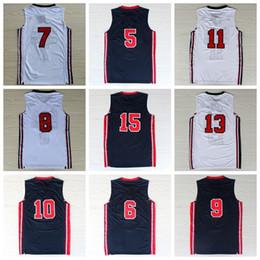 Wholesale Size 13 14 - 1992 USA Dream Team One Basketball Jerseys Shirt #5 #6 #7 #8 #9 #10 #11 #13 #14 #15 With Player Name Team Logo Maillot de basket Size S-XXXL