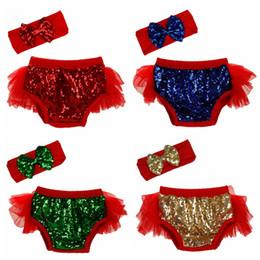 Wholesale Girls Lace Shorts Pants - kids sequins shorts Toddler bow headband+sequin Underpants 2pcs set infant lace pp pants 17 colors bloomers C2693