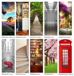 Wholesale Country Living Homes - Imitation 3D Door Sticker PVC Waterproof Wall Paper DIY Poster Self-adhesive Home Decor Wall Sticker