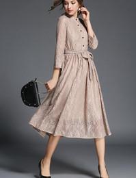 Wholesale Long Pleated Skirt Pattern - 2017 Women's Lace Pattern Casual Dresses Fashion Stand Up Collar Shirt Skirt Lone Hemline Bow Belt Dress