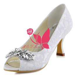 Wholesale Yellow Bridal Peep Toe Heels - Brand New Cheap Lace Shoes Diamonds Ornament Heels Bridal Shoes Peep Toe Wedding & Party Shoes WS0151 Customise Size 33 to 43