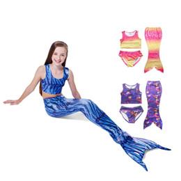 Wholesale Kids Bikinis Cheap - Cheap price 2016 summer New Kids Girls New Mermaid swimsuit bikini 3 pieces set mermaid tails for swimming 4-8 years old
