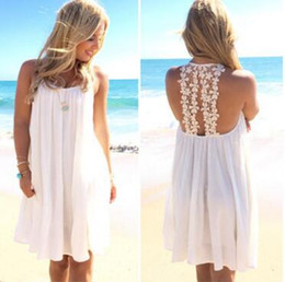 Wholesale Special Clothes Cheap - Sexy 2016 dress chiffon summer white women beach dress with special back cheap clothes china MMSE 1177
