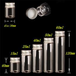 Wholesale Aluminium Crafts - 15ml 25ml 40ml 50ml 60ml Glass Bottles Decoration Crafts Bottles Aluminium Lid Empty Wishing Bottles Jars 50pcs Free Shipping