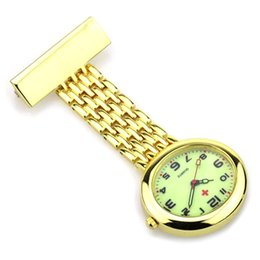 Wholesale Oval Watch Faces - gold and silver nurse watch fob pocket watch nursing medical gift for hospital doctor nurse students illuminated dial face or mumbers