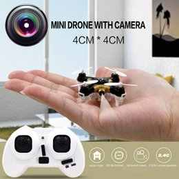 Wholesale Rc Lights Plane - 2016 New Mini RC Helicopter Plane Drone Quadcopter With Camera 30w LED Light 2.4G 4 Channel 6 Axis 3D Roll Dron Toy