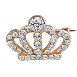 Wholesale wedding cravats - Fashion Brooches White Rhinestone Shinning Crown Brooch Cravat Exquisite Gift For Women Gold Silver Plated Broches 0903836-5