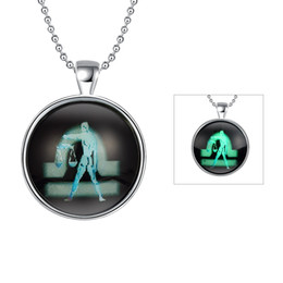 Wholesale Libra Chain - Wholesale Silver Plated Round Glass Locket Necklace Glow In The Dark Luminous Necklace Libra Pendant For Men Women Halloween Party Jewelry