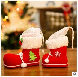 Wholesale Santa Boots Decorations - DHL Hanging Xmas Candy Bag Christmas Boots Christmas Tree Decorations Candy Box Kids Children Party Bags Boys Girl Santa Boot Shoes Stocking