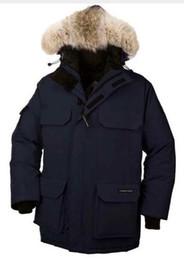 Wholesale Men Arctic Parka - Original canadians brand men feather Down Jacket Big Removable Raccoon fur warm Coat protection against winter Thick Arctic Parka down coat