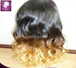 Wholesale European Full Swiss Lace Wigs - Ombre blonde hair European hair full lace wig for black woman with cheap price swiss lace--sunnygrace