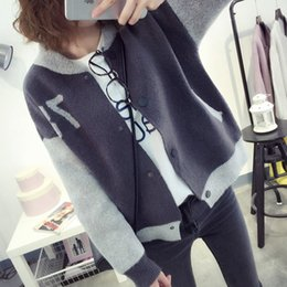 Wholesale Color Institute - Wholesale- Female short paragraph cardigan discounts loose fashion institute wind spell color knit cardigan jacket women clothing